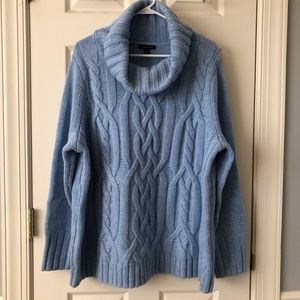 Lands' End Cowl Neck Cable Sweater 2X